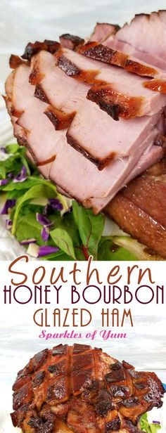 TA DA!! Between the deep, smoky, sweet flavors from the bourbon to the fragrance of the warm spices caramelizing on the ham; it's hard not to pick pieces off of thisSouthern Honey Bourbon Glazed Ham before it's ready to hit the table. #holidayham #easterham #southerncooking #glazedham via @sparklesofyum