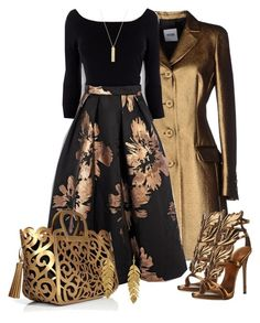 Styles featuring Moschino Cheap & Chic, Ralph Lauren Collection, Giuseppe Zanotti, Kenneth Jay Lane and Oasis Classy Dress, Classy Outfits, Pretty Outfits, Stylish Outfits, Beautiful Outfits, Look Fashion, Girl Fashion, Autumn Fashion, Womens Fashion
