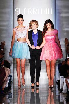 Kendall & Kylie Jenner with dress designer Sherri Hill at New York Fashion Week Spring 2013
