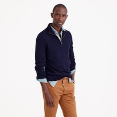 Slim Merino wool half-zip sweater - Medium