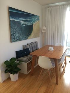 Bench seat with dining table. Warwick cushions. IKEA Kallax bench.