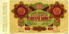 Státovky I. emise (1919) - Papírová platidla, bankovky Banknote, European Countries, Czech Republic, Money, Nostalgia, Silver