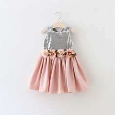 2016 Summer Christmas Sequin 3D Flowers Party Girl Dress Princess Flower Girl Dresses Clothes Girls Clothes Children Clothes 2-6