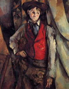 January Paul Cézanne is born in Aix-en-Provence, France. Boy in a Red Waistcoat, by Paul Cézanne. Oil on canvas. Collection of Mr. Paul Mellon, in Honor of the Anniversary of the National Gallery of Art. National Gallery of Art Cezanne Art, Paul Cezanne Paintings, Oil Paintings, Aix En Provence, Provence France, National Gallery Of Art, National Art, Art Gallery, Monet