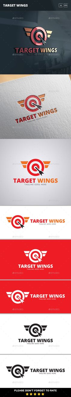 Target Wings  - Logo Design Template Vector #logotype Download it here: http://graphicriver.net/item/target-wings-logo-template/11331980?s_rank=1259?ref=nexion