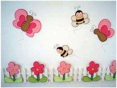 """Spring Bulletin Board """"Diseas Preschool"""" - Home And Decor Diy For Kids, Crafts For Kids, Spring Bulletin Boards, Diy And Crafts, Paper Crafts, Church Nursery, Class Decoration, Spring Activities, Kids Corner"""
