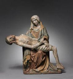 Vesperbild (Pietà), c. 1420      Master of Grosslobming (Austrian)      painted cast stone, Overall - h:94.00 w:92.70 d:39.40 cm (h:37 w:36 7/16 d:15 1/2 inches) Wt: 250 lbs.