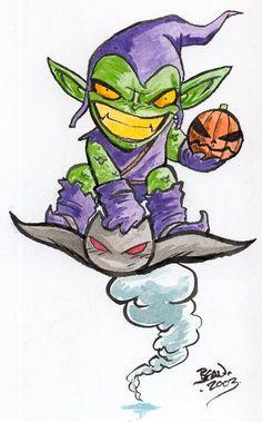 My first Green Goblin Chibi. TM & (C) Marvel. Chibi Characters, Comic Book Characters, Comic Character, Comic Books Art, Comic Art, Marvel Comics Superheroes, Marvel Villains, Marvel Art, Cartoon Drawings