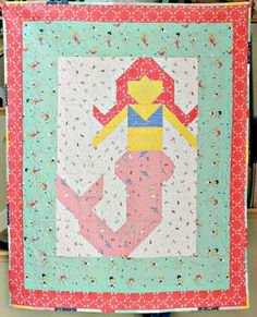 Little Miss Merry Mermaid Quilt Pattern featuring Saltwater fabric collection designed by Cinderberry Stitches for Riley Blake Designs