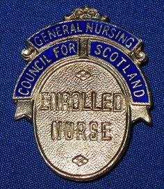 10 DAY AUCTION - Vintage Sterling Silver Enamel Scotland Enrolled Nurse Uniform Badge Hamilton & Inches 1973