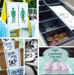 Cute yard sale signs + ideas.