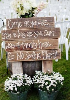 Our wedding topic today is rustic wedding signs.Why we use wedding signs in our weddings? Awesome wedding signs are great wedding decor for wedding ceremony and reception, at the same time, they will also serve many . Barn Wedding Decorations, Rustic Wedding Signs, Wedding Country, Wedding Signage, Rustic Bohemian Wedding, Wedding Sign In Ideas, Wedding Ideas Using Pallets, Country Themed Weddings, Wedding Favours Rustic