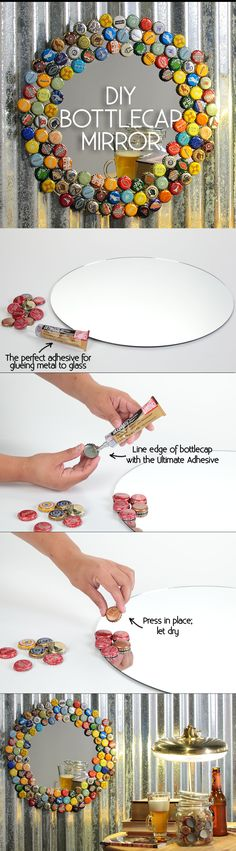 DIY Bottle Cap Mirror - cute craft decor idea for recycling bottlecaps For the man cave basement bathroom someday! Diy Projects For Men, Diy Projects Cans, Craft Projects, Bottle Cap Projects, Bottle Crafts, Crafts With Bottle Caps, Garrafa Diy, Cute Crafts, Diy Crafts