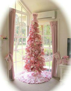 Pink shabby chic tree/stockings
