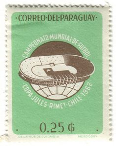 1962 World Cup in Chile (Paraguay stamp), designed by Mosdossy
