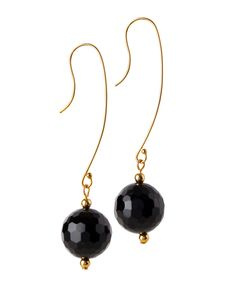 These super fab black onyx drop earrings are perfect for everyday wear or a night out on the town. Made with gold filled hooks, they are high quality & long lasting. Available to buy online or in store. #MoMuse #IrishDesign #Dublin #Fashion #style #artisan #earrings #black #monochrome #elegant #drop #onyx #stones