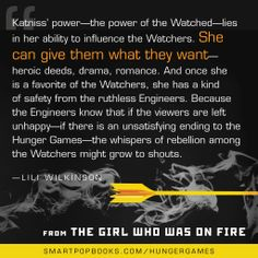 More Lili Wilkinson on the Hunger Games trilogy, from THE GIRL WHO WAS ON FIRE #YAbooks #quotes #HungerGames #TheHungerGames #CatchingFire #GWWoFQuotes #TheGirlWhoWasonFire #liliwilkinson