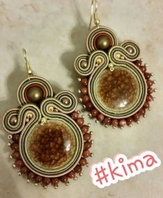 Soutache Earrings by gemstone Necklace and ceramic materials, KIMA cabo with cord Hook nickel free SHIPPING
