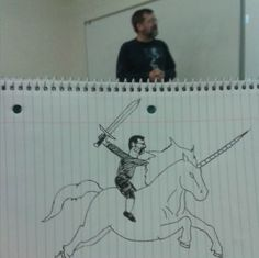 Bored student spends class drawing silly pics of his professor in absurd situations [10 pictures]
