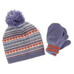 e5a33c103b9 CTM® Toddler Girl s 0-2 Jacquard Knit Beanie and Mitten Set