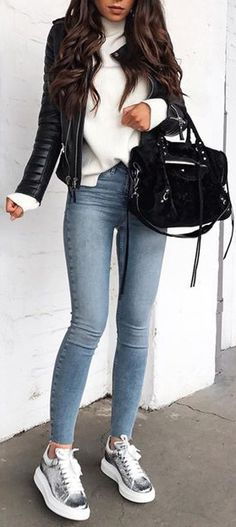Cute Casual Back to School Outfit Ideas for 2018 – Glamanti Beauty Uni Outfits, Winter Fashion Outfits, Girly Outfits, Denim Fashion, Pretty Outfits, Fall Outfits, Casual Outfits, Autumn Clothes, Mode Inspiration