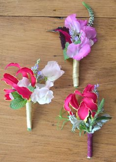 Fuchsia pink wedding boutonniere by Hilary Ashford-Ng
