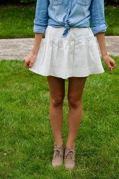 E and A Blog: Emma: Indigo & White Black Sheer Top, Black Tops, Wide Brim Sun Hat, White Skirts, White Denim, Top Knot, Outfit Posts, Tj Maxx, Sun Hats