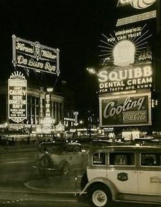 1934.. Broadway and 46th Street and Seventh Avenue.. Circle Chevrolet-Squibb Dental Cream-Cooling Coca-Cola