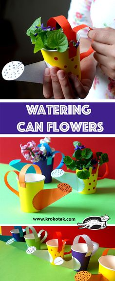 Fun Craft Projects For Kids : DIY Watering Can Flowers : Make a potted plant holder using a paper cup and supplies! Perfect for classroom crafting, and a great gift for kids to make