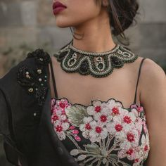 Hand embroidered blouse Netted Blouse Designs, Blouse Designs High Neck, Simple Blouse Designs, Stylish Blouse Design, Bridal Blouse Designs, Net Blouses, Off Shoulder Fashion, Beautiful Blouses, Embroidered Blouse