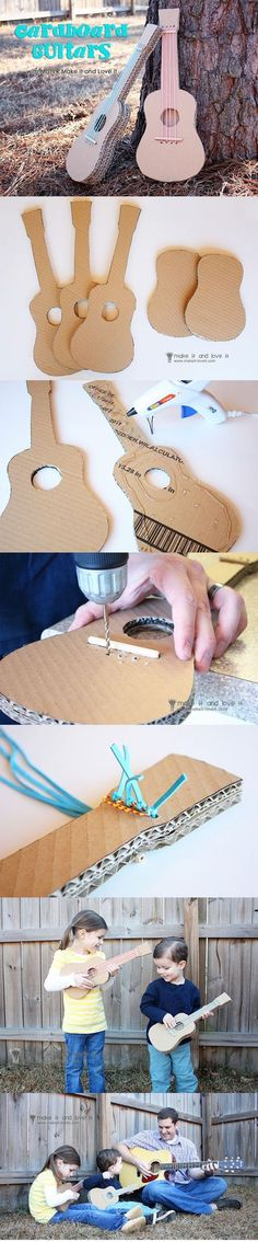 DIY Cardboard Guitar DIY .