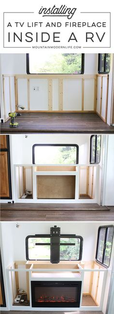 Renovating your motorhome? Come see how we installed a hidden TV lift & electric fireplace inside our RV! MountainModernLife.com