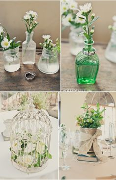 love the idea of fresh flower buds in found vases as tabletop decorations