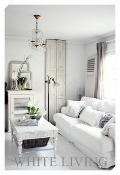 Chalk Painted. Living Room Chippy, Shabby Chic, Whitewashed, Cottage, French Country, Rustic, Swedish decor Idea.