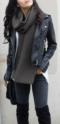 Edgy look | Oversize scarf, leather jacket and over the knee boots