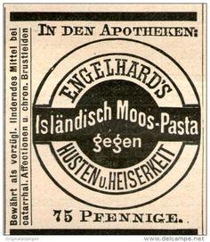 Original-Werbung/Inserat/ Anzeige 1903 - ENGELHARD'S ISLÄNDISCH MOOS - PASTA - ca. 45 x 50 mm