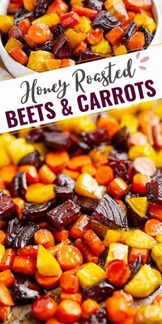 Honey Roasted Beets & Carrots are an easy and healthy side dish. This simple recipe highlights the flavors of the vegetables with a touch of added sweetness. #RoastedBeets #RoastedCarrots #BeetsAndCarrots