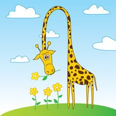 Cute Funny Giraffe Cartoon Character with Flower