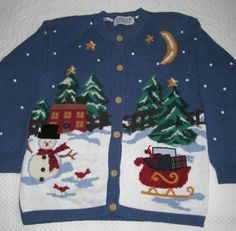 Vintage Embroidered Christmas Sweater / Snowman Sweater / Sleigh Sweater / Jantzen Xmas Cardigan by vintagous on Etsy Christmas Sweaters, Snowman, Knitting Patterns, Xmas, Seasons, Vintage, Trending Outfits, Etsy, Handmade Gifts