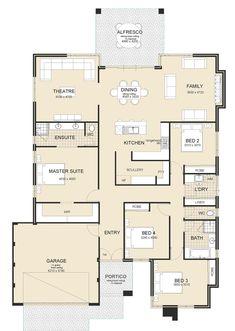 Floor Plan 4 Bedroom, 4 Bedroom House Plans, Bungalow House Plans, New House Plans, Dream House Plans, Small House Plans, House Floor Plans, The Plan, How To Plan