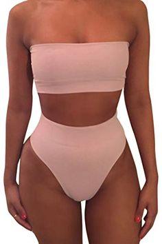 d17d3a2353e29 Pink Queen Women s Removable Strap Pad Thong Bikini Set W... High Waisted  Bikini