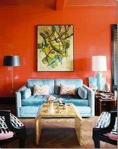 Living Room with orange Wall. Living Room with orange Wall. orange Walls with Brown & Tan Furniture & Hardwood Floors Orange Rooms, Living Room Orange, Orange Walls, Red Walls, Blue Orange, Orange Color, Bright Walls, Burnt Orange, Orange Punch