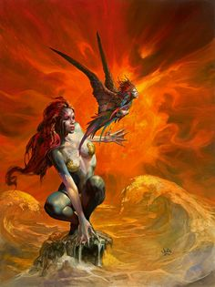 Little Sister by Julie Bell. This original piece of fantasy art by Julie Bell is currently available for purchase. Boris Vallejo, Julie Bell, Art Village, Fantasy Art Women, Fantasy Girl, Dark Fantasy, Bell Art, Fantasy Kunst, Luis Royo