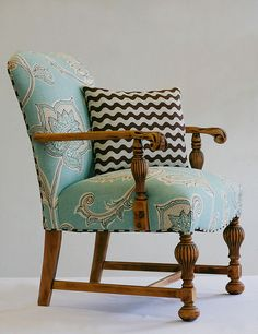 Love the contrasting fabrics on this chair.