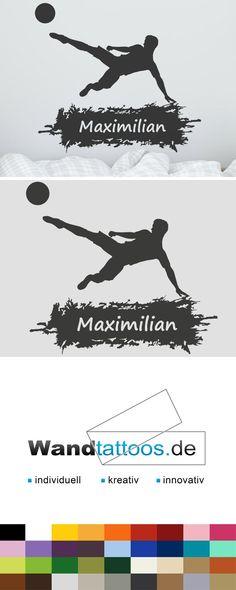 Wandtattoo Fußball Mit Name Als Idee Zur Individuellen Wandgestaltung.  Einfach Lieblingsfarbe Und Größe Auswählen.