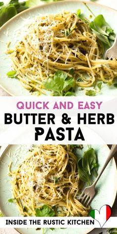 Garlic Butter Pasta Sauce, Herb Pasta Recipe, Quick Pasta Sauce, Pasta Recipes For One, Yummy Pasta Recipes, Drink Recipes, Vegan Recipes, Cooking Recipes, Pasta With Herbs
