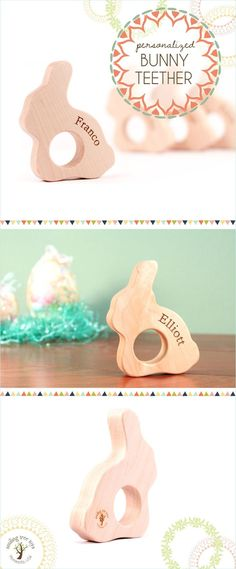 Bunny wood teether - Easter Basket Ideas (non-candy ideas) - Baby Easter Gift Bags, Easter Gift Baskets, Handmade Wooden Toys, Wooden Baby Toys, Wood Toys, Easter Crafts For Kids, Toddler Crafts, Easter Ideas, Easter Activities