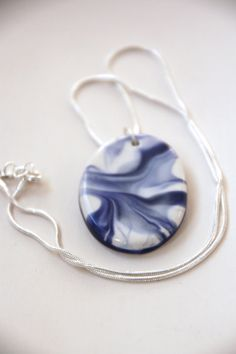 Ceramic Pendant and Necklace in Blue and White by BonCreationz, €18.00