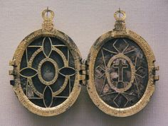 Reliquary pendant  Gilded metal locket with two reliquary compartments on each side, the saints' relics identified on the covering plaque