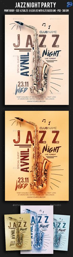Jazz Night Party Flyer  — PSD Template #night #luxury • Download ➝ https://graphicriver.net/item/jazz-night-party-flyer/18028240?ref=pxcr